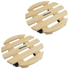 Woodside Round Wooden Plant Pot Trolley Movers Flowerpot Planter Caddy Pack of 2 Movers (2 PACK)