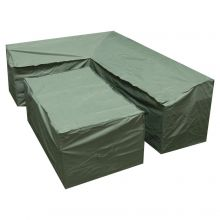 Woodside Green L Shape Outdoor Dining Waterproof Patio Set Cover Rattan