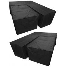 Woodside Black L Shape Outdoor Dining Waterproof Patio Set Cover Rattan