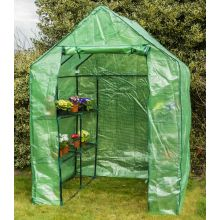 Woodside Walk In Greenhouse with PE Netted Cover - 8 Shelves