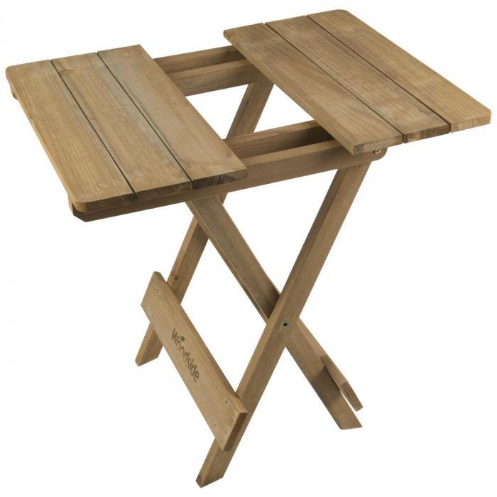Woodside Folding Coffee Side Snack, Wooden Side Table For Garden