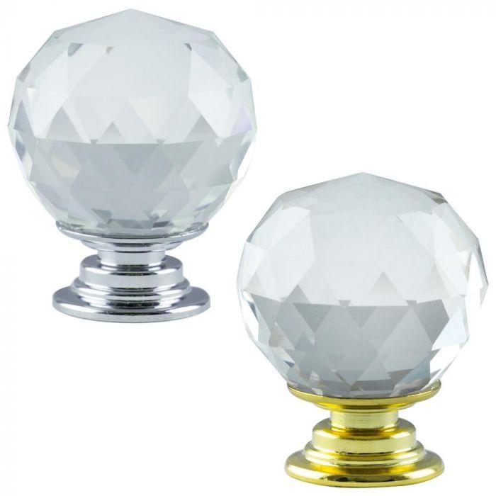 Hausen Crystal Glass Door Handle Kitchen Cupboard Cabinet Drawer Knobs Woodside Products