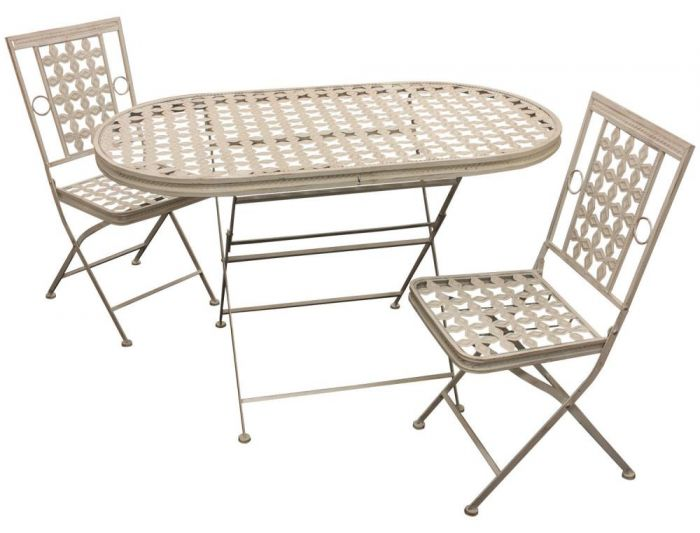 woodside folding metal outdoor garden patio dining table and 2 chairs set